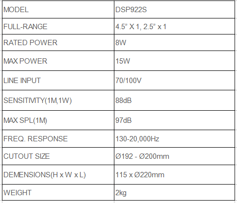 dsppa 2 way speaker specification